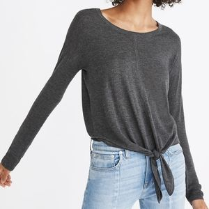 Madewell Modern Tie Front Sweater Gray Small